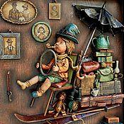 """Картины и панно ручной работы. Ярмарка Мастеров - ручная работа """"Туда и обратно"""" объемная картина, дерево, папье-маше. Handmade."""