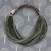Украшения ручной работы. Ярмарка Мастеров - ручная работа Бусы в стиле Брунелло Кучинелли бронзово-зеленые. Handmade.