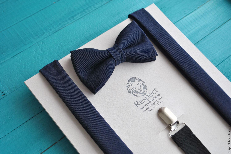 Темно синяя галстук бабочка + Подтяжки темно синие однотонные Глубина, Ремни, Москва,  Фото №1