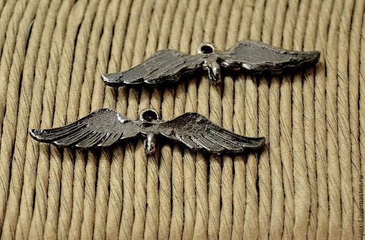 Для украшений ручной работы. Ярмарка Мастеров - ручная работа. Купить Коннектор Крылья, черный металл 37х9мм. Handmade.