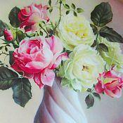 Шкатулки ручной работы. Ярмарка Мастеров - ручная работа Лаковая миниатюра. Нежные розы.. Handmade.