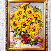 Картины и панно handmade. Livemaster - original item Picture Embroidered with ribbons Sunflowers in a vase. Handmade.