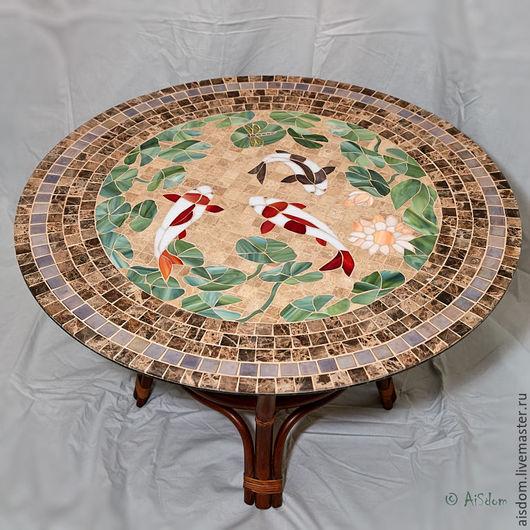 """Мебель ручной работы. Ярмарка Мастеров - ручная работа. Купить Стол с мозаикой """"Карпы кои"""". Handmade. Коричневый, карпы, стол"""