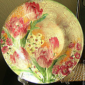 Посуда handmade. Livemaster - original item decorative plate Tulips. Handmade.