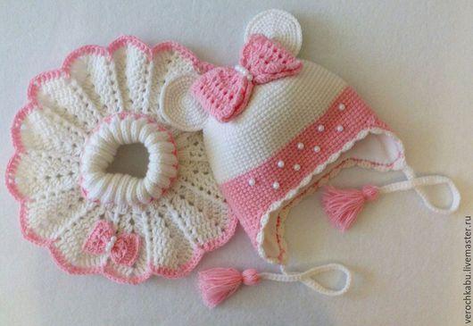 купить шапку, купить шапочку, шапка, шапочка, вязаная шапочка для девочки, вязаный комплект для девочки, манишка, вязаная манишка, розовый, бело-розовый, вязаная шапочка, шапочка минни