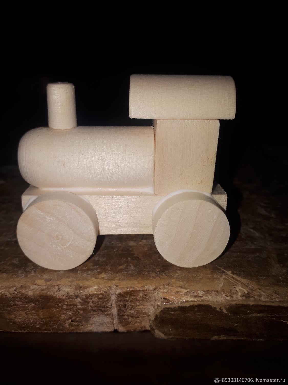деревянный детский паровозик, Техника роботы транспорт, Вознесенское,  Фото №1