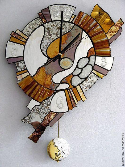 """Часы для дома ручной работы. Ярмарка Мастеров - ручная работа. Купить Часы зеркальные """"БЫЛОЕ..."""". Handmade. Часы, тиффани"""