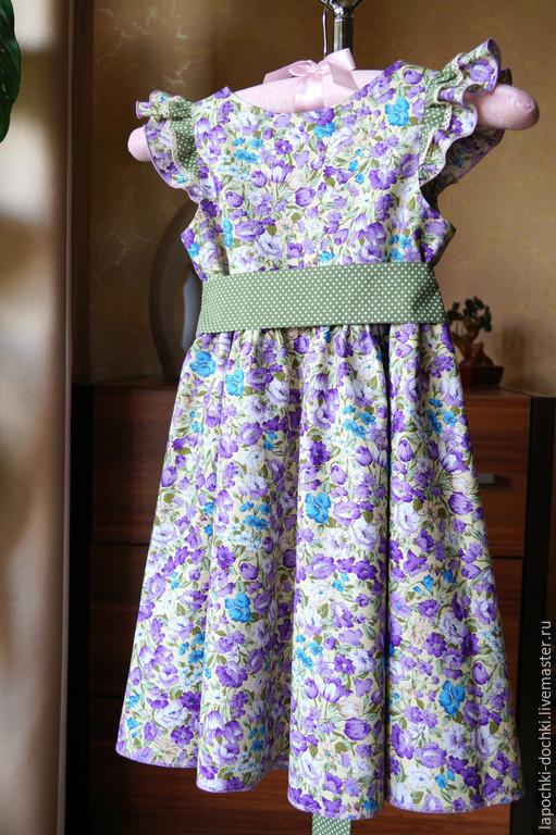 Одежда для девочек, ручной работы. Ярмарка Мастеров - ручная работа. Купить платье  для девочки Барвинки  из хлопка. Handmade. Фиолетовый