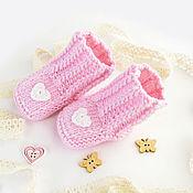 Пинетки ручной работы. Ярмарка Мастеров - ручная работа Пинетки для девочки вязаные теплые розовые шерстяные. Handmade.