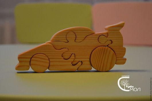 Развивающие игрушки ручной работы. Ярмарка Мастеров - ручная работа. Купить Машинка-спорт. Развивающая деревянная игрушка-пазл.. Handmade.
