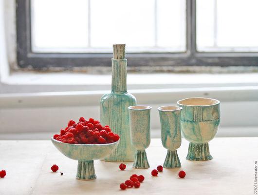 """Сервизы, чайные пары ручной работы. Ярмарка Мастеров - ручная работа. Купить Набор посуды """"Эстетический экстаз"""". Handmade. Бирюзовый"""