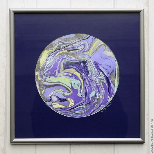 Абстракция ручной работы. Ярмарка Мастеров - ручная работа. Купить живопись на воде 2. Handmade. Тёмно-фиолетовый, светло-фиолетовый