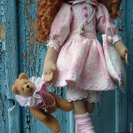 Коллекционные куклы ручной работы. Ярмарка Мастеров - ручная работа. Купить Интерьерная кукла Майя с мишкой. Handmade. Бледно-розовый