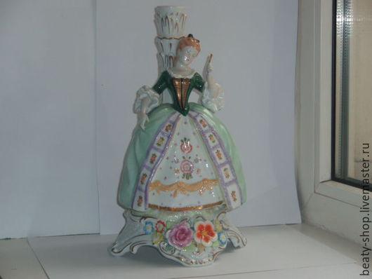 """Винтажные предметы интерьера. Ярмарка Мастеров - ручная работа. Купить Фигурка статуэтка фарфоровая """"Дама с веером"""" von Schierholz. Handmade."""