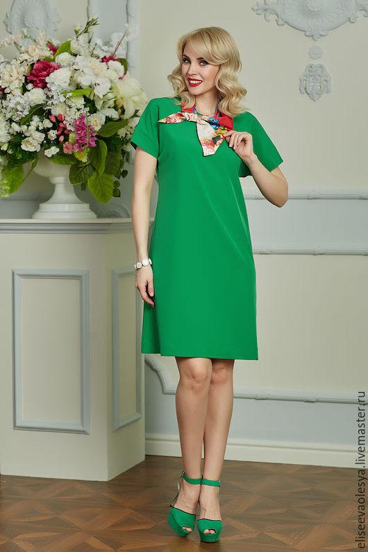 Платья ручной работы. Ярмарка Мастеров - ручная работа. Купить Летнее платье А-силуэта зеленое 25038. Handmade.