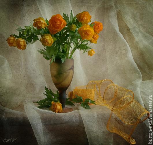 Фотокартины ручной работы. Ярмарка Мастеров - ручная работа. Купить натюрморт с оранжевыми цветами в бокале. Handmade. Оранжевый, зеленый, цветы