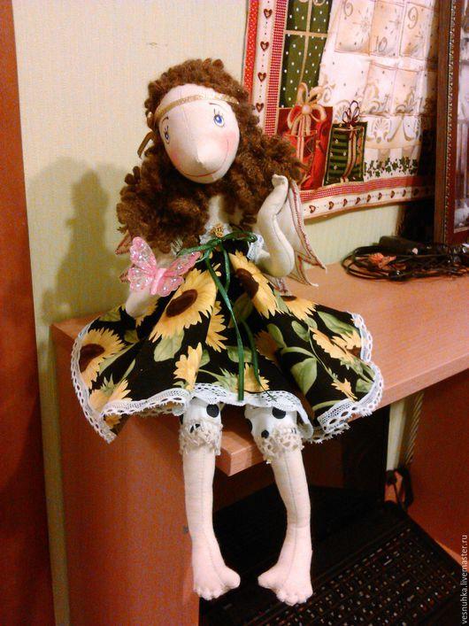 Коллекционные куклы ручной работы. Ярмарка Мастеров - ручная работа. Купить фея лета. Handmade. Желтый, каркасная кукла, кружево