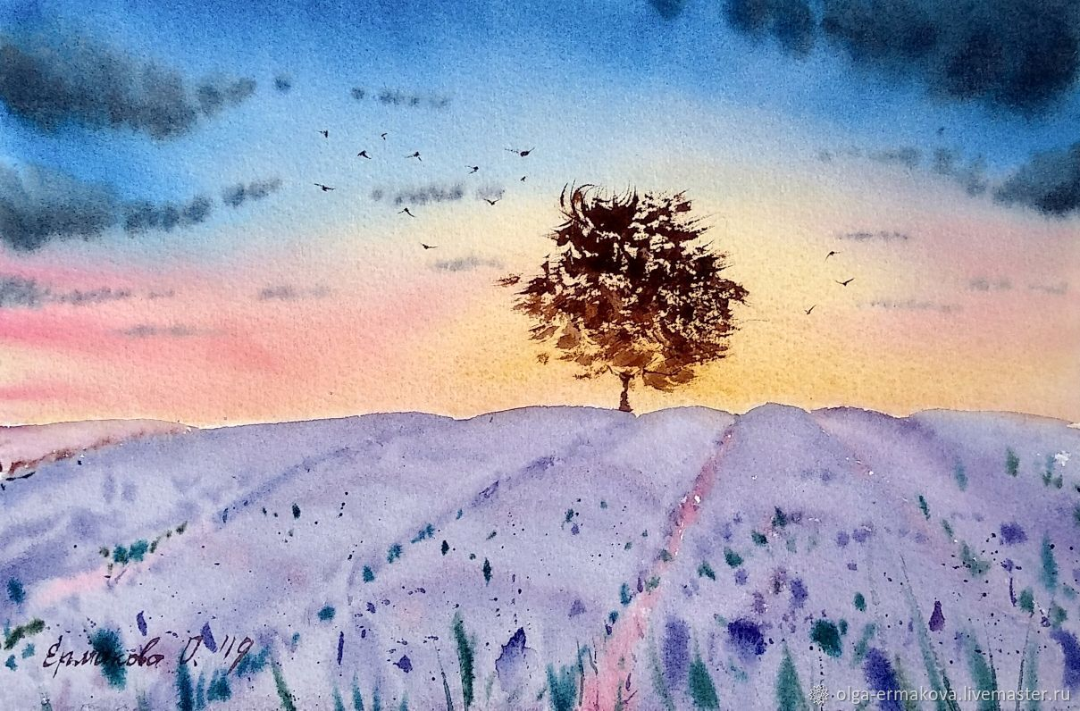 Landscape of Provence with a lavender field. Painting with a landscape of nature, Decor, Moscow,  Фото №1