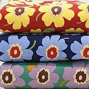 Ткани ручной работы. Ярмарка Мастеров - ручная работа Крупные цветы оксфорд хлопок ткань. Handmade.