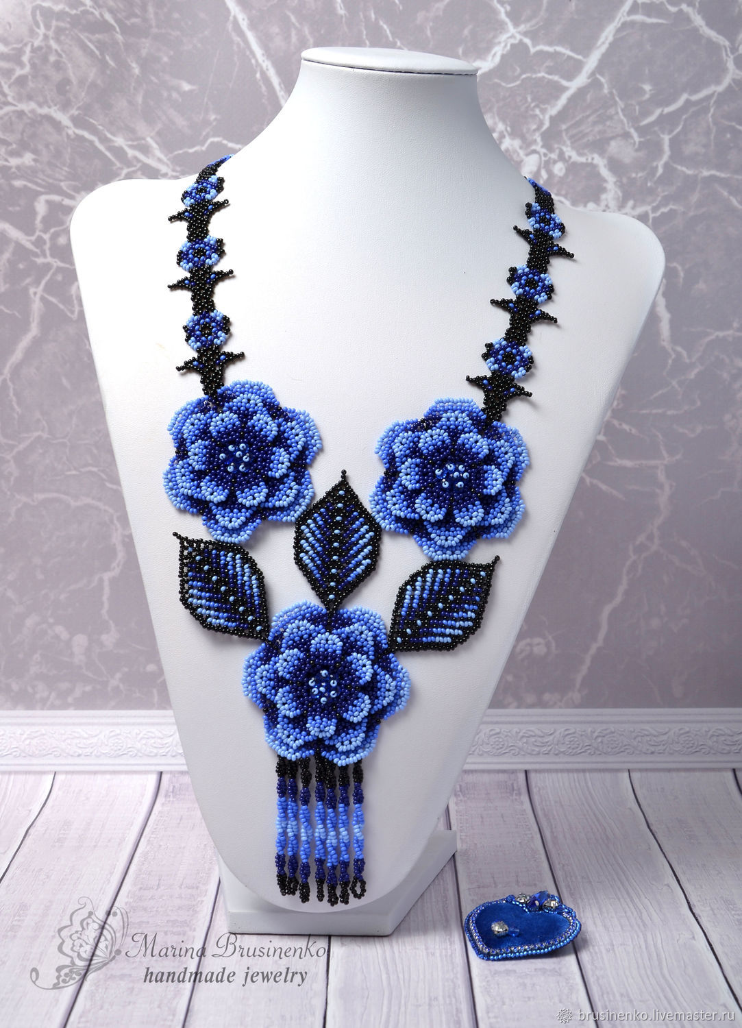Decoration on the neck Blue flowers, Necklace, Novosibirsk,  Фото №1