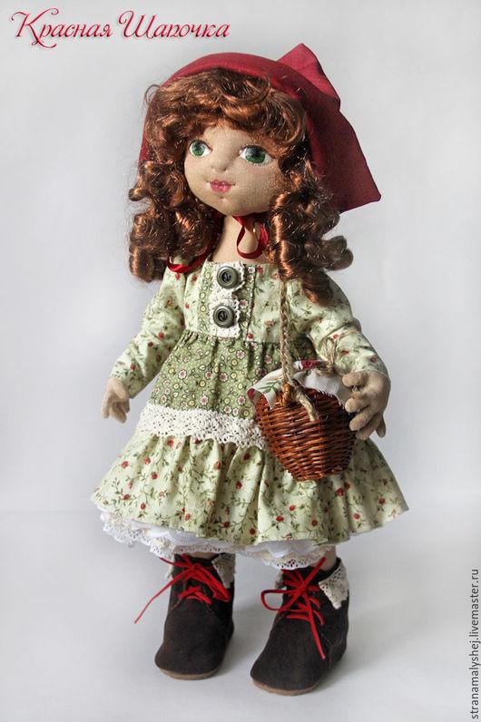 Сказочные персонажи ручной работы. Ярмарка Мастеров - ручная работа. Купить Красная шапочка. Коллекционная интерьерная кукла в зеленом платье. Handmade.