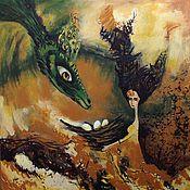 """Картины и панно ручной работы. Ярмарка Мастеров - ручная работа Картина """"Как приручить дракона"""". Handmade."""