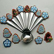 """Посуда ручной работы. Ярмарка Мастеров - ручная работа Чайные ложки """"Рождественские пряники"""". Handmade."""