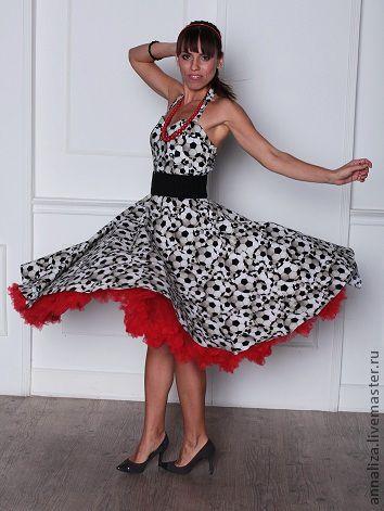 """Платья ручной работы. Ярмарка Мастеров - ручная работа. Купить Платье в ретро стиле """"Футбол и Я"""". Handmade. Чёрно-белый"""