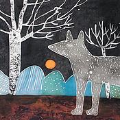 Картины и панно ручной работы. Ярмарка Мастеров - ручная работа Волк, горы и березы. Батик  - панно на шелке.. Handmade.