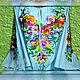 Order Dress embroidered linen 'Pansies'. Individual vyshivanka. (oksanetta). Livemaster. . Dresses Фото №3