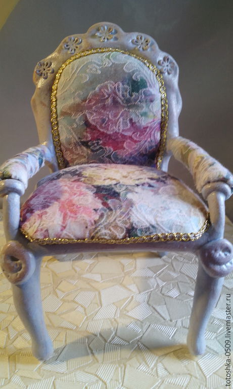 Миниатюра ручной работы. Ярмарка Мастеров - ручная работа. Купить Кресло для принцессв. Handmade. Голубой, игрушка для детей, проволочный каркас