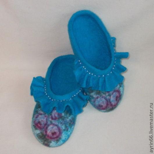 """Обувь ручной работы. Ярмарка Мастеров - ручная работа. Купить Тапочки """"Кокетка"""". Handmade. Тёмно-бирюзовый, обувь ручной работы"""