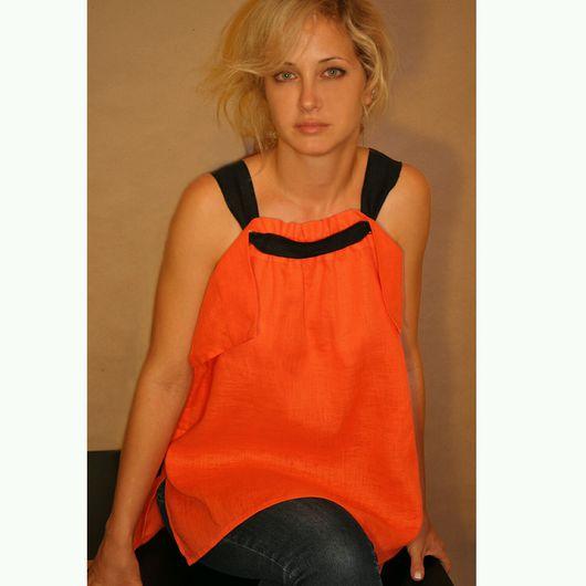 Блузки ручной работы. Ярмарка Мастеров - ручная работа. Купить Блузка, лен оранж. Handmade. Блуза, туника, льняная туника