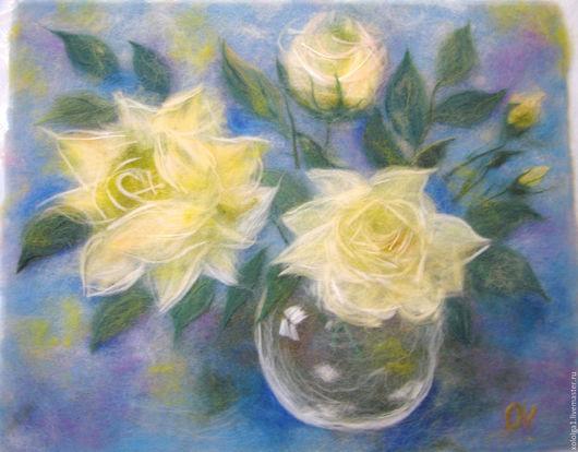 """Картины цветов ручной работы. Ярмарка Мастеров - ручная работа. Купить Картина """"Желтые розы в вазе"""". Handmade. Лимонный"""
