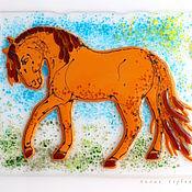 Картины и панно ручной работы. Ярмарка Мастеров - ручная работа панно из стекла, фьюзинг Лошадка. Handmade.