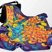 Аксессуары handmade. Livemaster - original item The silk batik shawl Golden balls. Handmade.