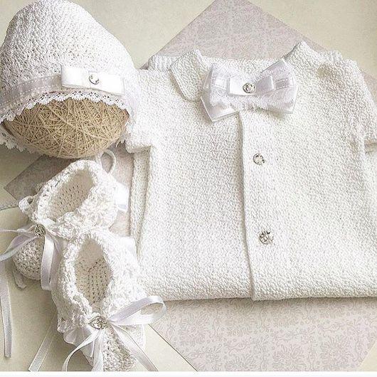 """Для новорожденных, ручной работы. Ярмарка Мастеров - ручная работа. Купить Комплект на выписку """"Лео"""": костюм, чепчик, пинетки. Handmade."""