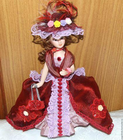 Коллекционные куклы ручной работы. Ярмарка Мастеров - ручная работа. Купить Lady in dark red - фарфоровая кукла-ед.экз.. Handmade.