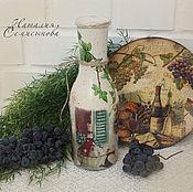 """Посуда ручной работы. Ярмарка Мастеров - ручная работа Бутыль для вина """"Сыр и вино"""". Handmade."""