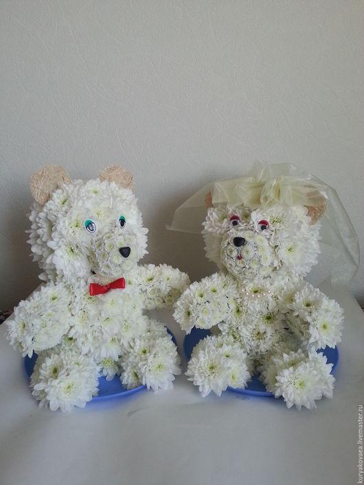 Подарки для влюбленных ручной работы. Ярмарка Мастеров - ручная работа. Купить мишки из живых цветов. Handmade. Белый, подарок, влюбленные