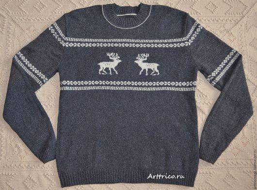 Для мужчин, ручной работы. Ярмарка Мастеров - ручная работа. Купить Серый свитер с бежевыми оленями. Handmade. Темно-серый
