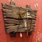 Для дома и интерьера ручной работы. Ярмарка Мастеров - ручная работа Светильник под старину из дерева и металла для кафе, беседки, бани. Handmade.