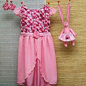 Работы для детей, ручной работы. Ярмарка Мастеров - ручная работа Нарядное розовое платье для девочки и зайка. Handmade.