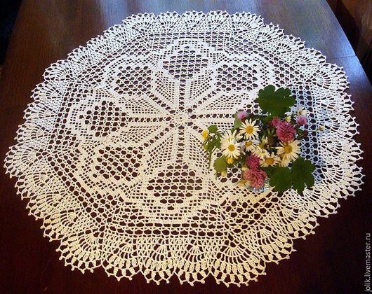 Салфетка большая круглая кружевная, маленькая скатерть-салфетка, вязаная салфетка, салфетка крючком , красивая салфетка, интерьер в стиле проваес, кантри, белый, кремовый.