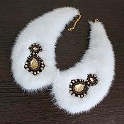 handmade. Livemaster - original item White collar necklace with fur white mink fur collar. Handmade.
