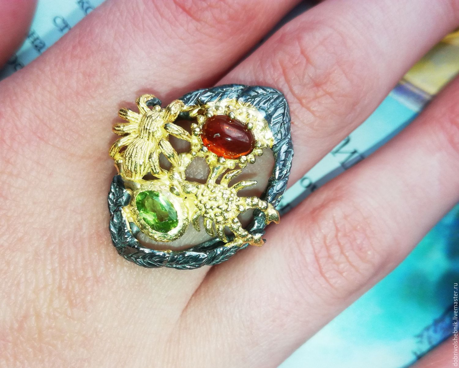 Ring 'In the rainforest' with chrysolite and garnet spessartine, Rings, Novaya Usman,  Фото №1