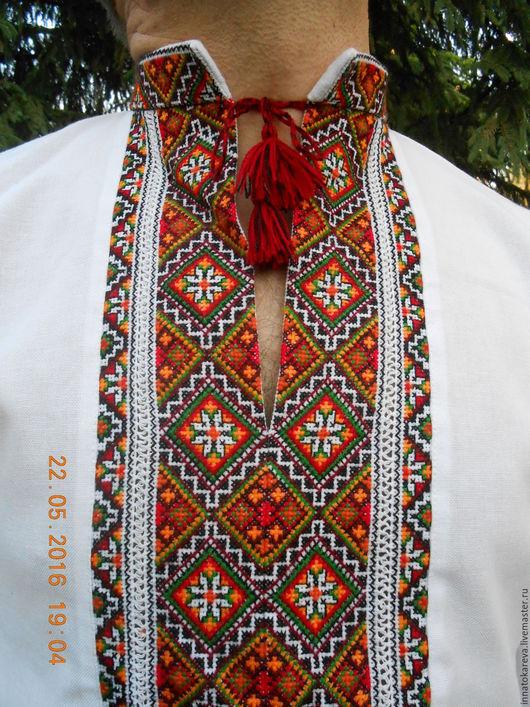 Этническая одежда ручной работы. Ярмарка Мастеров - ручная работа. Купить Традиционная  славянская льняная вышиванка. Handmade. Вышивка крестиком
