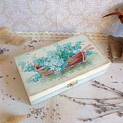 Для дома и интерьера ручной работы. Ярмарка Мастеров - ручная работа Нежные незабудки - шкатулка - купюрница. Handmade.