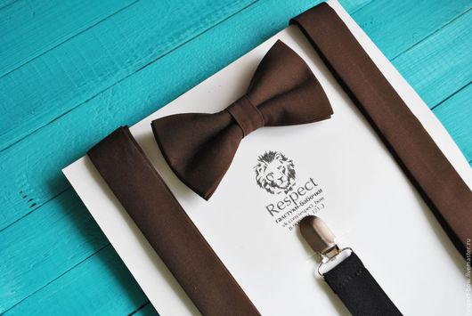 Комплекты аксессуаров ручной работы. Ярмарка Мастеров - ручная работа. Купить Коричневая галстук бабочка + Подтяжки коричневые однотонные Классика. Handmade.