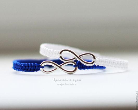 Браслеты ручной работы. Ярмарка Мастеров - ручная работа. Купить Парные браслеты для влюбленных с символом бесконечности синий/белый. Handmade.